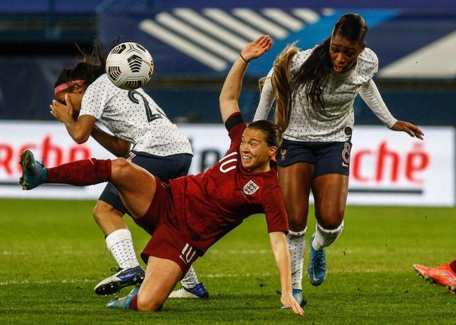 England forward Fran Kirby in action against France.