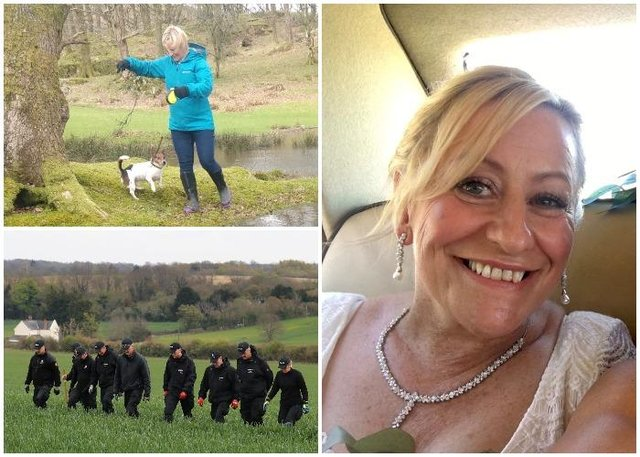 Murdered PCSO Julia James walking her Jack Russell Toby and wearing a light blue waterproof coat, blue jeans and dark coloured Wellington style brown boots - the same clothes she had on when last seen before her murder (PA/Kent Police)