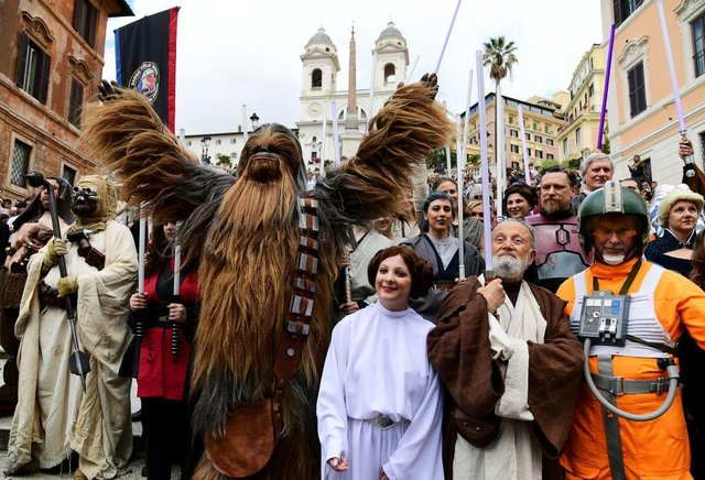 Star Wars fans dress up as characters from the saga on Star Wars Day 2019 (Photo: VINCENZO PINTO/AFP via Getty Images)