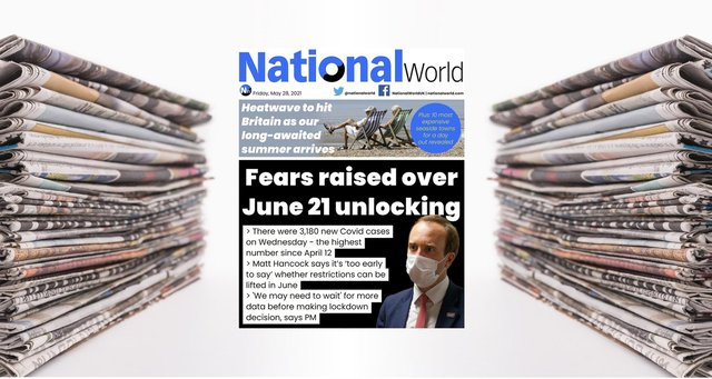 The digital front page of NationalWorld for May 27