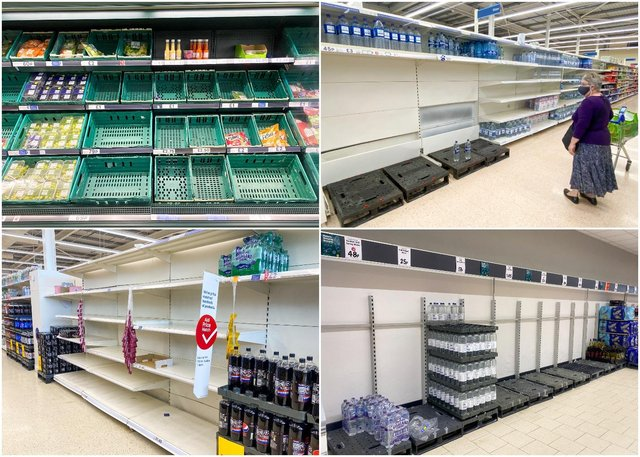 Pictures started emerging yesterday of empty shelves in major supermarkets across England (SWNS)