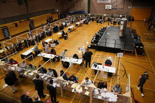 Votes being counted at Mill House Leisure Centre in Hartlepool, for the local and mayoral election and for the Hartlepool parliamentary by-election (PA Media)