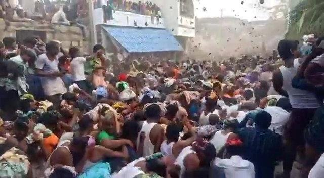 Hundreds defied Covid restrictions during the Ugadi Celebrations in India with a cow dung fight and a procession of donkeys (Photo: SWNS)