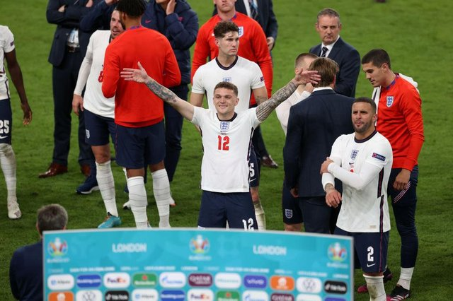 Kieran Trippier of England celebrates their side's victory towards the fans after the UEFA Euro 2020 Championship Semi-final match between England and Denmark at Wembley Stadium on July 07, 2021 in London, England. (Photo by Catherine Ivill/Getty Images)