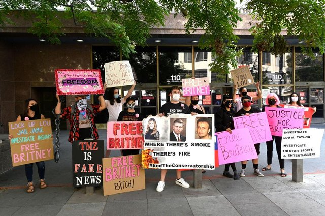 Supporters of Britney Spears joined the #FreeBritney protest outside Los Angeles Courthouse in 2020, to raise concerns over her father's legal rights to make financial and health decisions for her (Picture: Getty Images)
