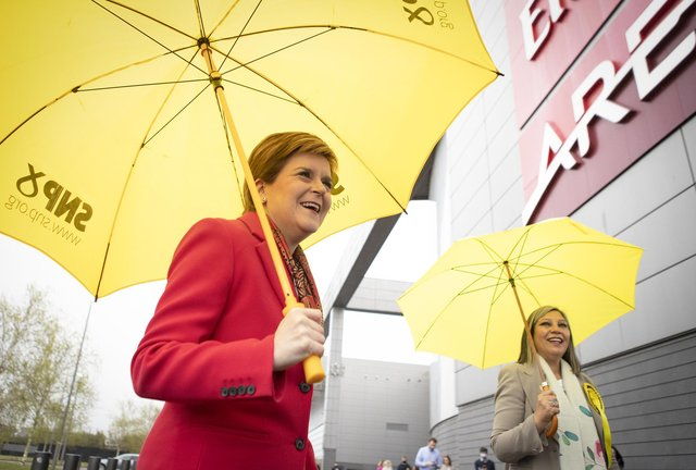 First Minister Nicola Sturgeon (left) with Scotland's first female MSP of colour, Kaukab Stewart, outside the Emirates Arena, Glasgow (Photo: Jane Barlow / PA)