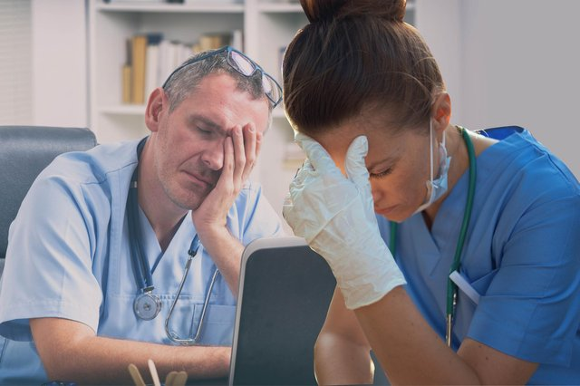 """Many doctors, nurses and other healthcare staff are now overworked and overtired, with NHS and social care staff burnout reaching an """"emergency"""" level (Graphic: Kim Mogg)"""