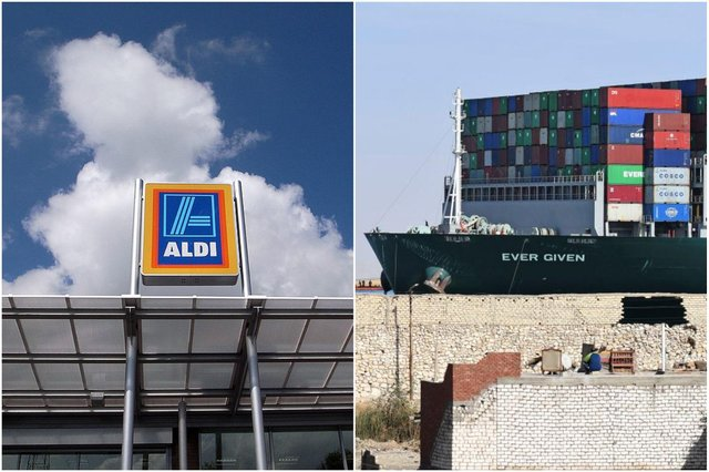 Aldi has released a list of products delayed by the Ever Given blockage (Photos: Getty)