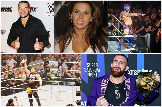 Clockwise from top left: Bo Dallas, Mickie James, Kalisto, Mojo Rawley, and Samoe Joe are just some of the names that have been released from their WWE contracts (Photos: Getty/Shutterstock)