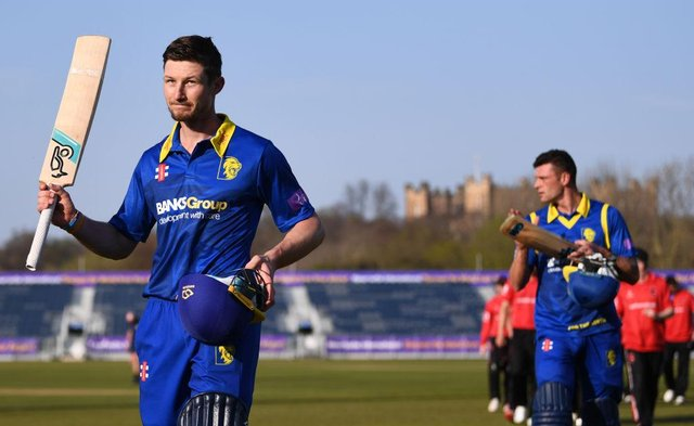 Durham batsmen Cameron Bancroft acknowledges the applause after his match-winning unbeaten century after the Royal London One Day Cup match between Durham and Leicestershire at Emirates Riverside in April 2019.