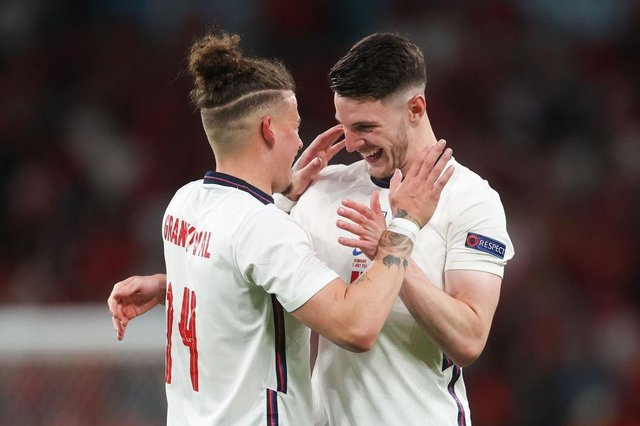 Kalvin Phillips and Declan Rice. (Photo by Carl Recine - Pool/Getty Images)