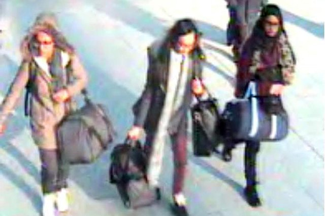 Amira Abase, 15, Kadiza Sultana, 16, and Shamima Begum, 15, (pictured left to right) at Gatwick airport in February 2015 (PA)