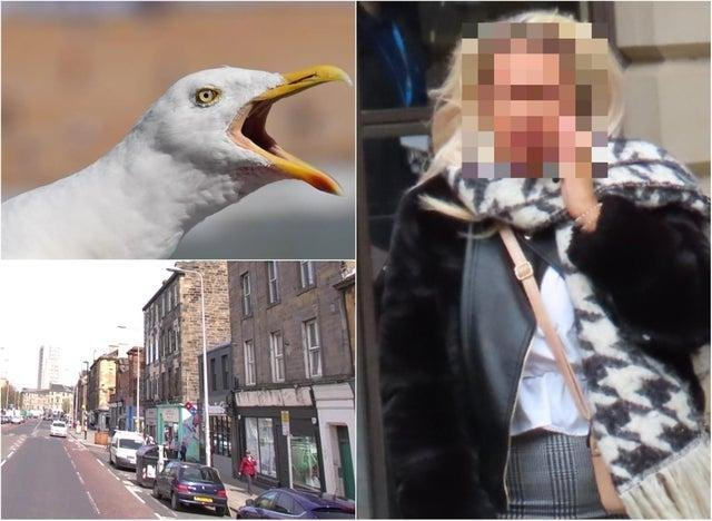 Attack scene and Bethaney Ryan outside Edinburgh Sheriff Court