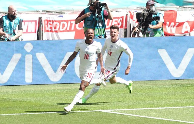 Raheem Sterling latched onto a Kalvin Phillips ball to score handing England their opening win of the tournament (Getty Images)