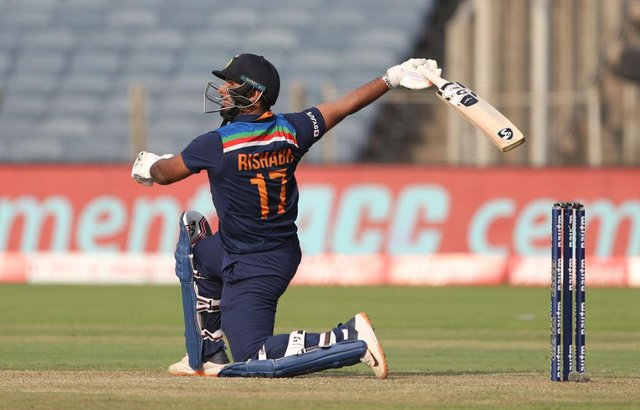 India batsman Rishabh Pant hits out during the second One Day International between India and England.