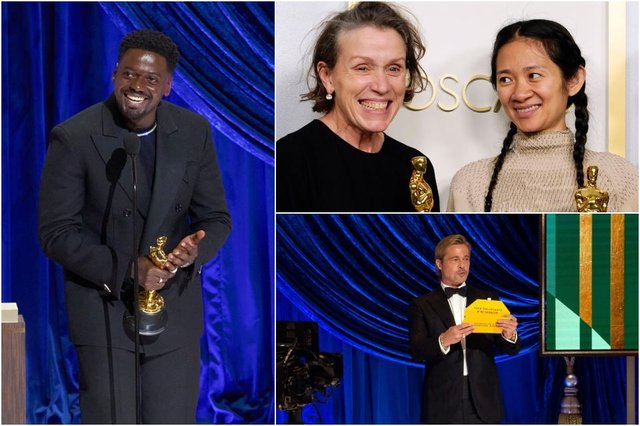 Daniel Kaluuya (left) won the Best Supporting Actor category; Chloé Zhao and Frances McDormand (top right) celebrate their wins for Nomadland; Brad Pitt announces the Best Supporting Actress winner (Photos: Getty Images)