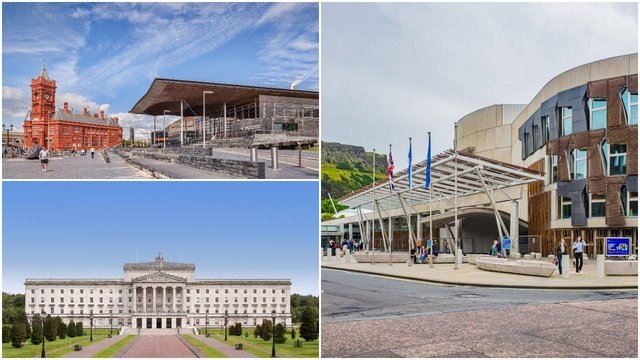 The three government buildings in Wales, Scotland and Northern Ireland (Shutterstock)
