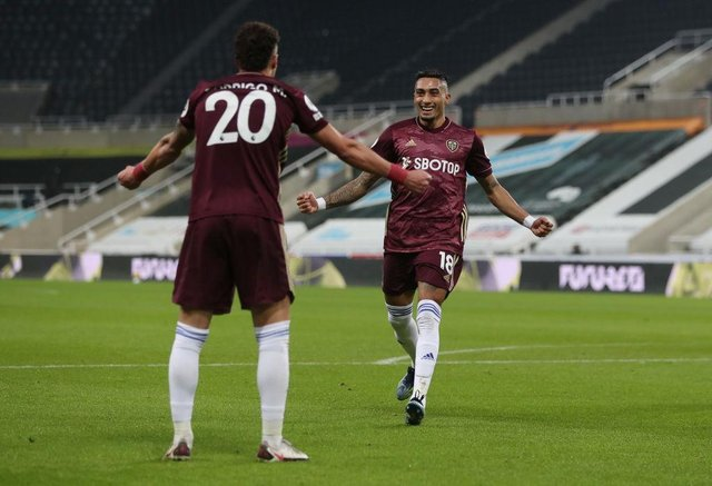 Raphinha of Leeds United celebrates with team mate Rodrigo after scoring their side's first goal against Newcastle United in January.