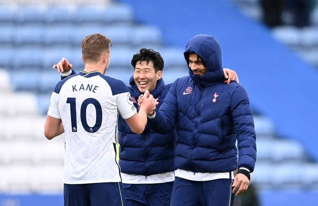 Harry Kane, Son Heung-Min and Dele Alli of Tottenham Hotspur. (Photo by Laurence Griffiths/Getty Images)