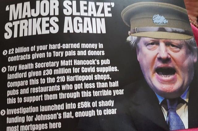 Hartlepool by-election 2021: Labour's last-minute attack leaflets label Boris Johnson 'Major Sleaze' (Photo: NWLD)
