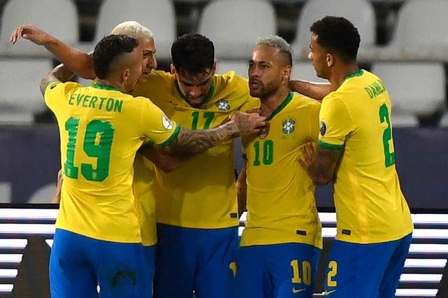Brazil celebrate scoring against Peru in the semi final of the Copa America 2021. (Pic: Getty)