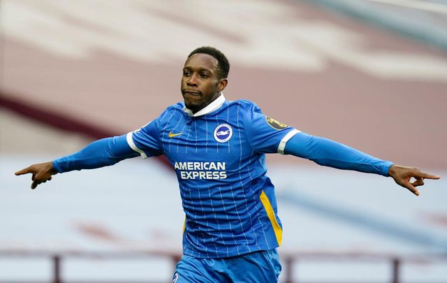 Danny Welbeck opened the scoring for Brighton & Hove Albion against West Ham United. he is out of contract this summer.