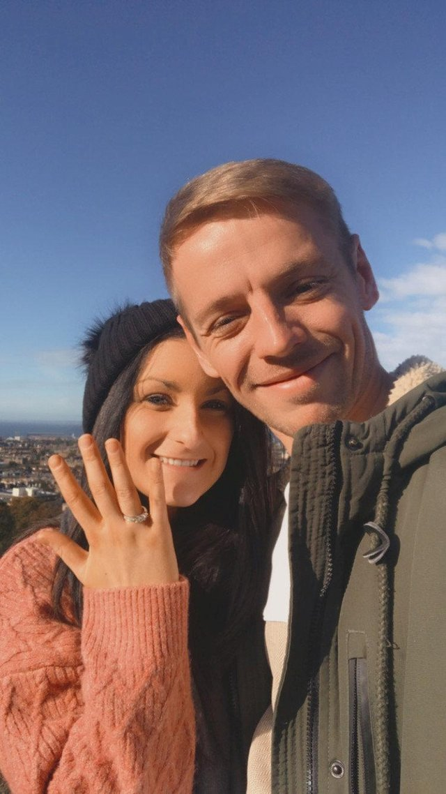 Emily Morgan and Jamie Mullineux met on a dating app during lockdown and got engaged eight weeks on (SWNS)