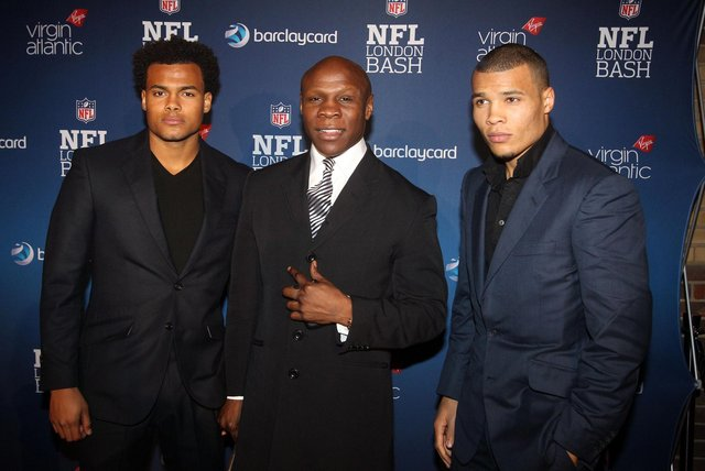 Chris Eubank with two of his sons Sebastian Eubank (left) and Chris Eubank Junior (right) (PA)