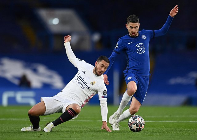 Chelsea star Jorginho during last night's Champions League semi-final win over Real Madrid (Photo by GLYN KIRK/AFP via Getty Images)