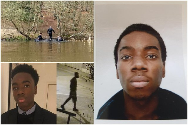 Richard Okorogheye, alongside a screen grab of CCTV footage (bottom left) and police divers in Epping Forest (top left). Photos: PA and Met Police