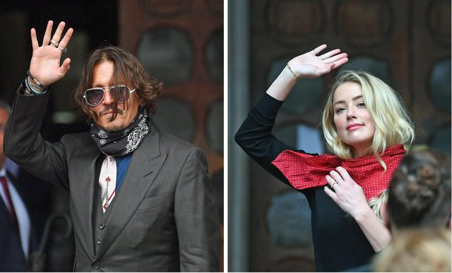 Actor Johnny Depp and actress Amber Heard pictured at the High Court in London on July 8, 2020 for a hearing in his libel case against The Sun.