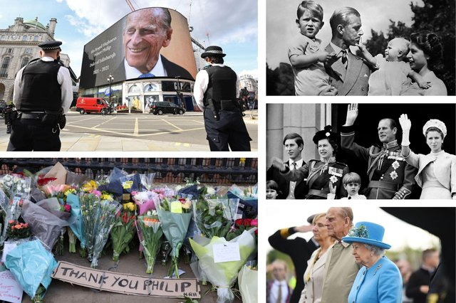 People have left flowers outside Buckingham Palace following the death of Prince Philip (Photos: Getty)