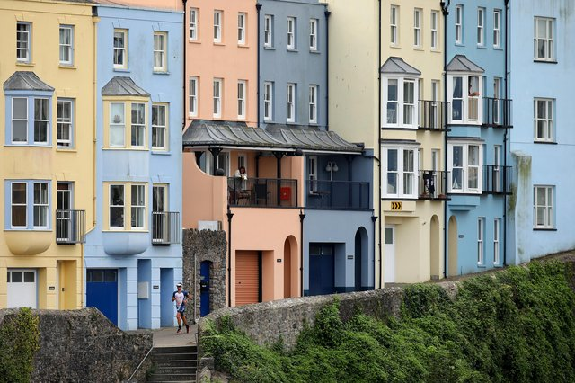 Colourful houses pictured in Seaside town Tenby, Pembrokeshire.