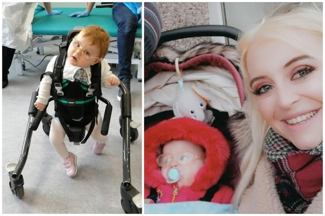 Savannah was able to take her first steps on 1 April using a stander (Photo: SWNS)