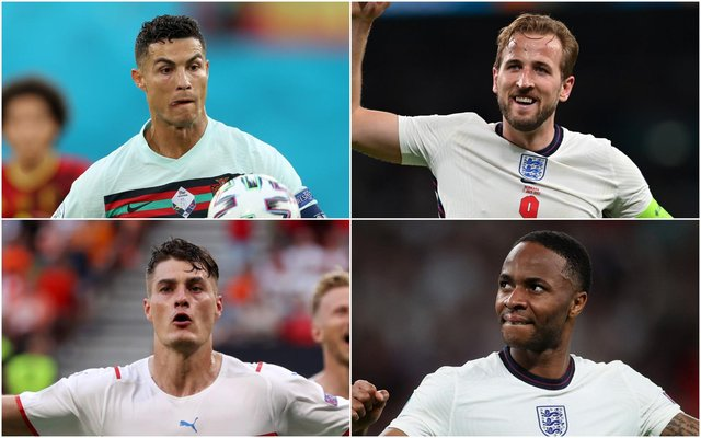 Euro 2020 Golden Boot contenders (clockwise from top left) Ronaldo, Harry Kane, Raheem Sterlng and Patrik Schick. (Pic: Getty)