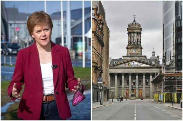 First Minister Nicola Sturgeon and an empty Ingram Street In Glasgow City Centre during lockdown (Photos by JANE BARLOW/POOL/AFP via Getty Images and Shutterstock)