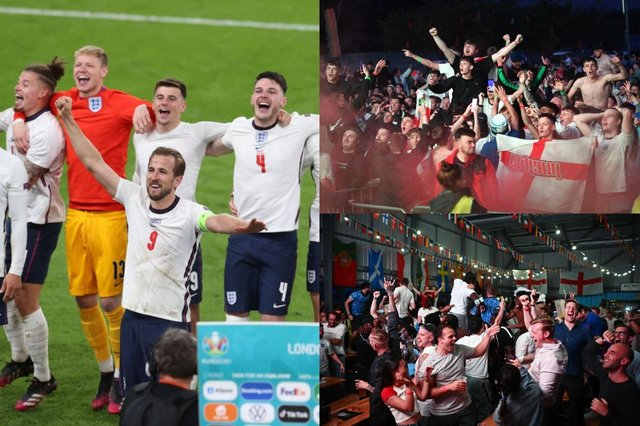 Gathering to watch football could be a factor in why men are more likely to test positive for Covid-19 (Photo: Catherine Ivill/Leon Neal/Anthony Devlin/Getty Images)