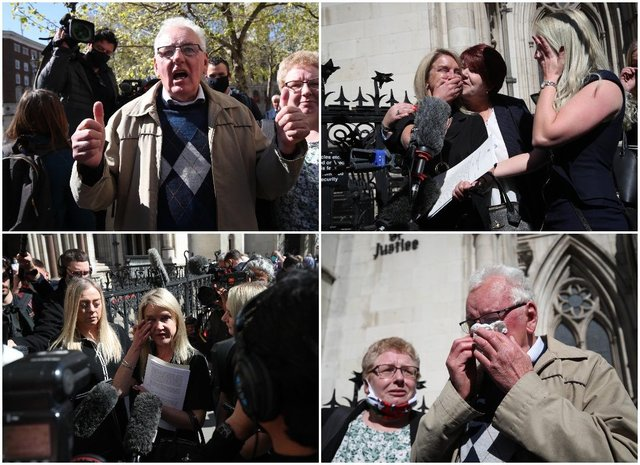 Former post office workers speak to the media outside the Royal Courts of Justice, London (PA)