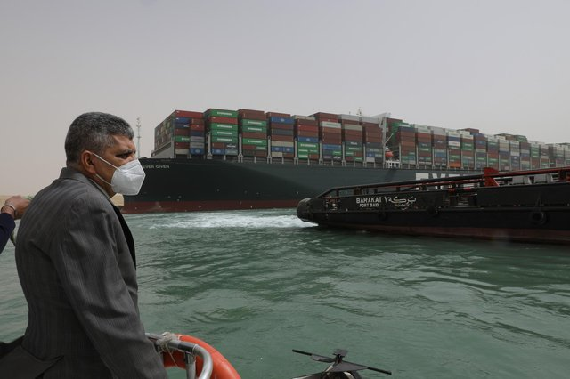 Clearing through the backlog of ships left by the blockage could take Egyptian authorities around four or five days (Photo: Suez Canal Authority/PA Media)
