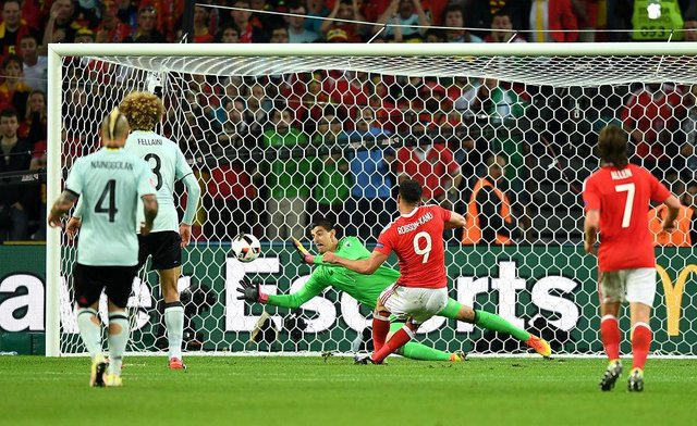 Hal Robson-Kanu of Wales scores his team's second goal against Belgium at Euro 2016.