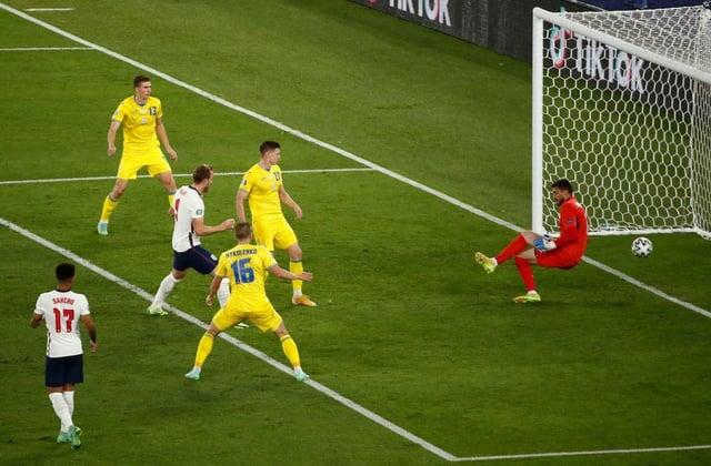 Harry Kane heads home Luke Shaw's cross against Ukraine to make it 3-0.