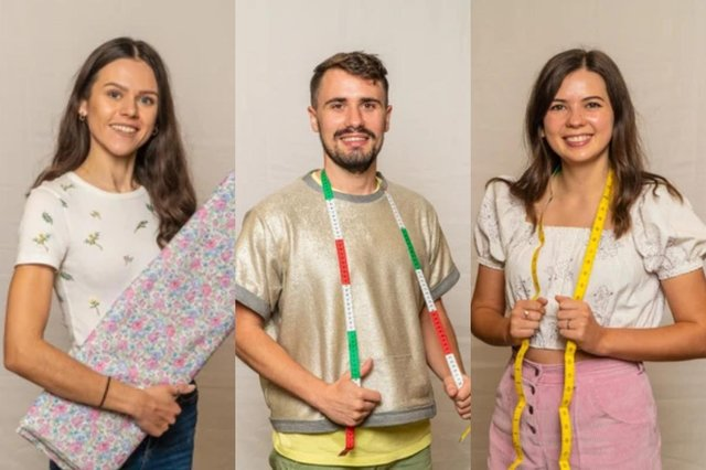 Rebecca, Raph and Serena will battle it out to be crowned the winner of this year's Great British Sewing Bee (Picture: BBC)