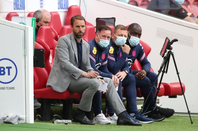 England boss Gareth Southgate and his coaching staff.