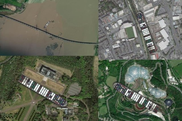 Ever Given dwarfs some of the UK's most famous sites including Old Trafford, the Eden Project and Stormont (Glitch)