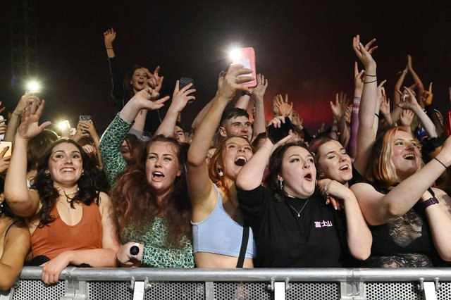 Fans watch Blossom perform at a live music concert hosted by Festival Republic in Sefton Park in Liverpool on May 2 (Paul Ellis / AFP/ Getty)