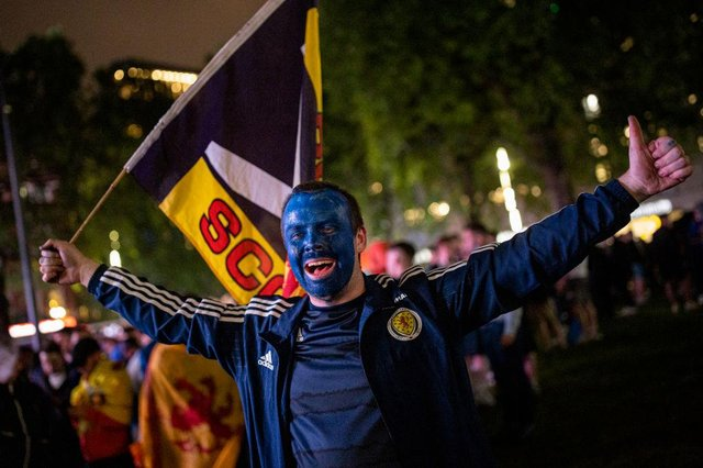 Scotland fans celebrated in London last night.