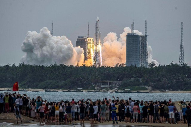The rocket was launched on 29 April, carrying a Chinese space station section into orbit (Picture: Getty Images)