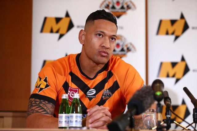 Israel Folau speaks to the media during a press conference at the Hilton Hotel on May 21, 2021 in Brisbane, Australia.
