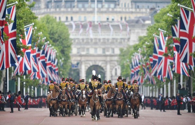 Trooping the Colour (picture in 2019) is usually a publicly celebrate event with over 1400 parading soldiers, almost 300 horses and 400 musicians take part in central London (Picture: Getty Images)