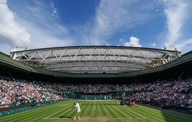 Centre Court at Wimbledon basked in sunshine at the 2021 tennis championships. (Pic: Getty)